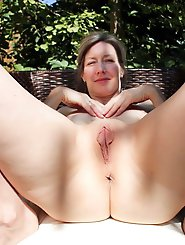 Lewd older MILF getting naked